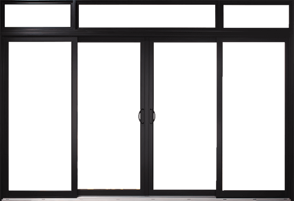 Black, custom patio doors with enlarged transom and four-panel glass