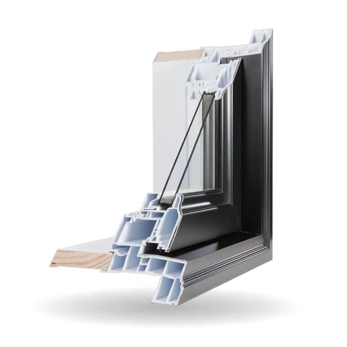 Hybrid PVC / Aluminum Casement Windows in Black