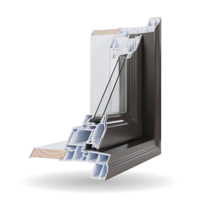 Hybrid PVC / Aluminum Casement Windows in Commercial Brown