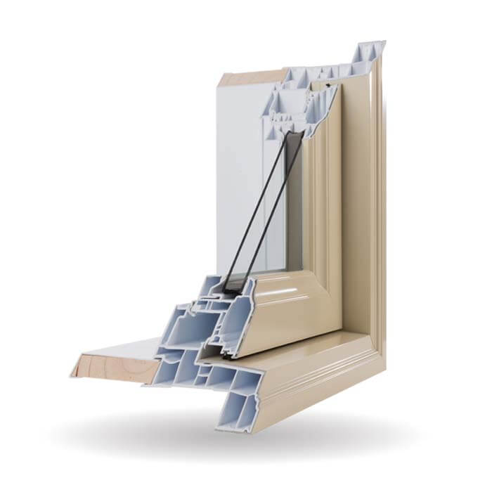 Hybrid PVC / Aluminum Casement Windows in Ivory
