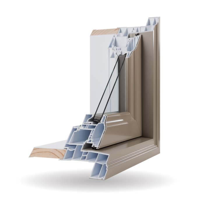 Hybrid PVC / Aluminum Casement Windows in Khaki