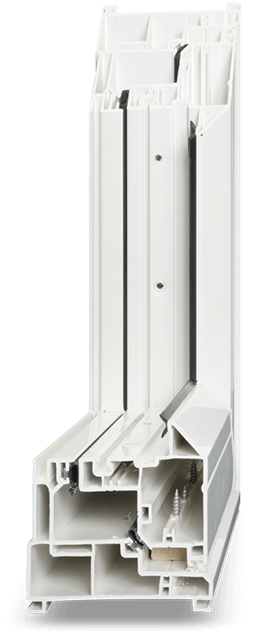 A front view of a traditional PVC window